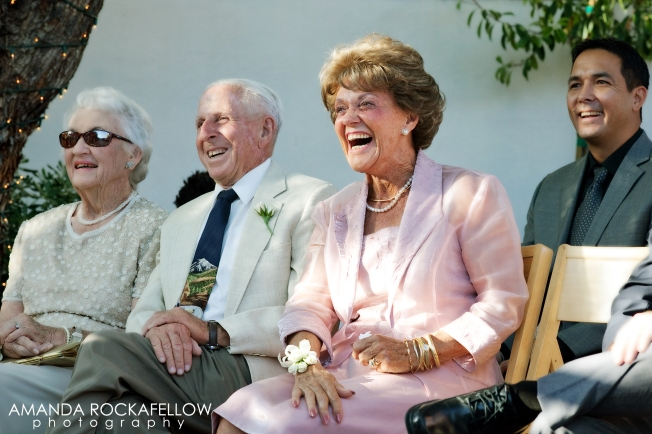 "A row of elders who said to me after the wedding, ""That was the MOST fun I've ever had at a ceremony!"" (And the Grandma far left added, ""And honey, I've been to more than I can count."")"